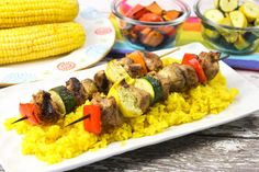 Pork Kabobs, Grilled Chicken Kabobs, Veggie Kabobs, Grilled Pork, Skewers, Kabob Recipes, Fruit Salad Recipes, Grilling Recipes, Pork Recipes