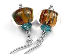 Lampwork Glass Earrings - Ginger Teal
