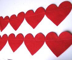 Valentines Day Red Heart Felt Garland Decor Banner by heartFeltbyA, $9.00