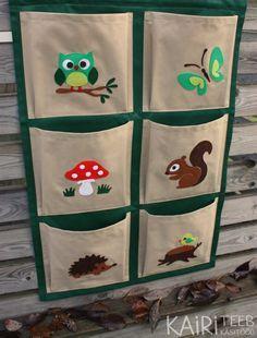 Kids organizer, hanging wall fabric pocket storage for books and toys / Rippriiul lastetuppa