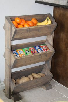 DIY Produce Stand for the home kitchen! DIY Produce Stand for the home kitchen! The post DIY Produce Stand for the home kitchen! appeared first on Home. Woodworking For Kids, Easy Woodworking Projects, Popular Woodworking, Woodworking Furniture, Diy Wood Projects, Pallet Furniture, Furniture Projects, Rustic Furniture, Woodworking Plans