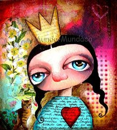 LOVE IN MY HEART IN THE VALENTINES DAY... reproduction of the original mixed media illustration of yasmin mundaca art
