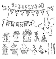 Doodle Birthday party elements vector by vip2807 on VectorStock®