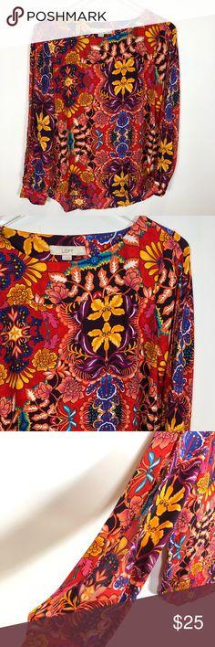e943eef47 LOFT cold shoulder long sleeve blouse Floral LOFT Cold shoulder long sleeve  blouse. Floral pattern