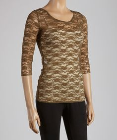 Another great find on #zulily! Brown Lace Three-Quarter Sleeve Top #zulilyfinds