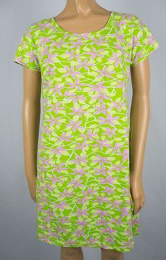 LILLY PULITZER Chilean Ave Vine Dress Green Pink Floral Casual Cotton Stretch