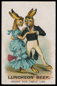 Trade cards -- Dancing Rabbits | Sheaff : ephemera