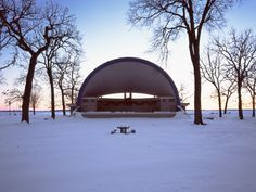 "Cindy Bernard captures some lovely early morning hues in her ""Bandshells"" series.  Ludwig Wangburg Bandshell (City of Clear Lake, 1954)  Clear Lake, Iowa"