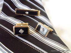 Krementz Cuff Links Vintage Tie bar Black by AngelasArtistic, $35.00