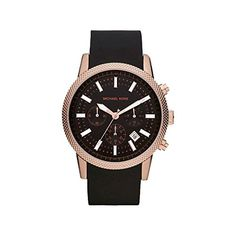 Michael Kors MK8244 Men's Scout Rose Gold Tone Black Silicone Strap Chronograph Watch Check https://www.carrywatches.com