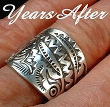STEVE YELLOWHORSE Vintage NATIVE American Ring Navajo Sterling Silver Band 9.2 Grams c.1980's!