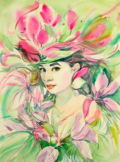 Audrey Hepburn by Korea's modern artist Ryu Eunja Audrey Hepburn Kunst, Fantasy Portraits, Art Poses, Vanitas, Modern Artists, Female Art, Pink Flowers, Flower Power, Watercolor Art