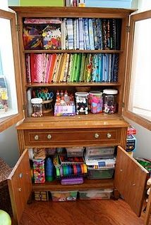 Love this idea for art supply storage... and if you look at the rest of the pics on the page, there are some GREAT ideas to be used for a school/playroom!
