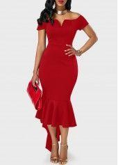 Off the Shoulder Asymmetric Hem Red Sheath Dress