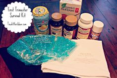 First Trimester Survival Kit, some of these would be good for giving as a gift when a sister or friend gets pregnant.