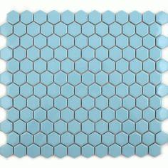 Gloss Sky Blue Hexagonal Tiles Toto Hexagon Mosaic Tiles 335x292x4mm Tiles