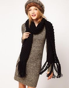 ASOS Textured Knit Tassel Scarf $21.11