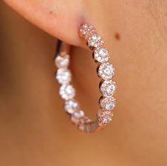 Gabbi Diamond Hoop Earrings | Body Kandy Couture Trendy hoops Diamond Diamond Hoop earrings rose gold Diamond ear piercing jewelry earring rose gold hoops diamonds
