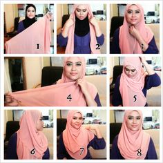 This is a very simple yet stunning hijab look for round faces shapes, it's perfectly lined and covering the chest area for a modest look. You can create it in only few steps using a maxi hijab, a safety and…