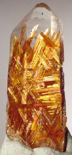 ✯ Rutile included in Quartz .. Origin: Diamantina, Minas Gerais, Brazil ✯