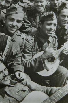 Spanish troops from Division Azul (Blue Division) during WWII. These troops wanted to defeat communism in Russia and world-wide.  http://www.mve2gm.es/paises/bando-del-eje/division-azul-/