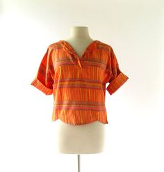 1960s Topanga Beach polished cotton top, Playmaker by Mannie Fineman