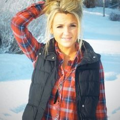 clothes snow winter outfits jacket puffy vest blonde girl flannel vest red flannel shirt coat shirt snow
