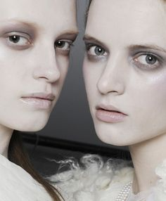 #sickly #avantgarde #avant #garde #fashion #bruise #tired #makeup #mascaraless Anastasia Kuznetsova and Daria Strokous backstage @ Rodarte f/w 2010.
