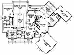 Luxury Style House Plans - 3584 Square Foot Home , 1 Story, 4 Bedroom and 4 Bath, 3 Garage Stalls by Monster House Plans - Plan 63-462 (nice one floor plan + enter study from master suite closet)