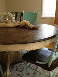 Old to New & Fresh Oak Dining Table & Chairs. Love this look!This may be how I finally decide to do mine!Too many options