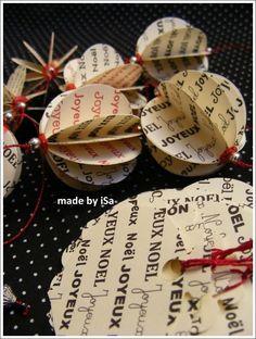 Guirlande/étiquettes réalisées à partir de feuilles imprimées à l'ordi - X mas labels/garland from home-made printed paper sheets © made by iSa