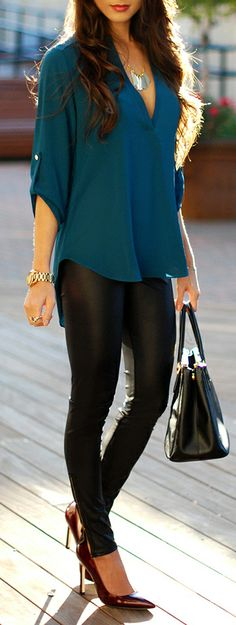 Not sure about leather trousers, but love the colour of the shirt and the elegant/casual look