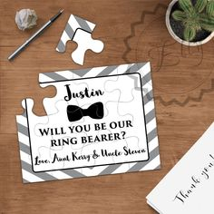 Ring Bearer Puzzle Invitation, Personalized Ring Bearer Gift Puzzle, Wedding Invitation Asking Ring Boy Proposal Ring Bearer Invitation Card Invitation Card Design, Elegant Invitations, Invitation Cards, Wedding Proposals, Wedding Cards, Wedding Stuff, Wedding Ideas, Dream Wedding, Wedding Goals