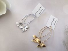 Wild Orchid earrings , Matte Silver or Matte Gold plated over brass,  Floret is approx 21 x 14mm  Earwires are matte silver or gold plated plated over brass.  All Savannah Rose Jewellery is lovingly handmade just for you from my wee home studio.  Enjoy!