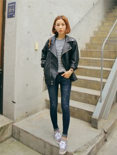 오버핏라이더 - Korean Style - Black leather jacket, striped shirt, and blue jeans