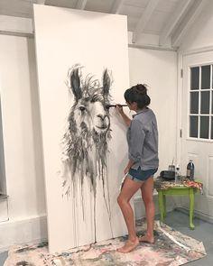 Llama Paintings by Kristin Llamas - - Animal Paintings, Animal Drawings, Art Drawings, Watercolor Animals, Watercolor Paintings, Llama Drawing, Llama Pictures, Llama Arts, Mug Art