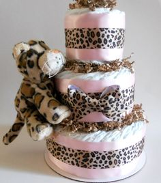Leopard Baby Shower Diaper Cake by DiaperCakeBoutique on Etsy, $47.00