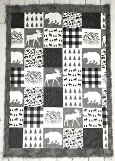 This stunning baby blanket has minky on both sides and would be perfect for any lumberjack, outdoor or woodland themed nursery. The top side (diy baby blanket) Woodland Fabric, Woodland Baby, Nursery Themes, Themed Nursery, Nursery Crafts, Nursery Crib, Baby Crib, Crib Bedding, Nursery Ideas