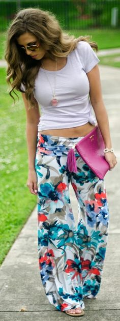 White Plum Multicolor Comfy Floral Palazzo Pants by Spring Summer Fashion, Spring Outfits, Trendy Outfits, Cute Outfits, Style Summer, Floral Palazzo Pants, Floral Pants, Latest Fashion For Women, Womens Fashion