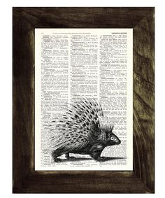 Porcupine on Vintage Dictionary Book- altered art upcycled dictionary page- illustration book print  art on Etsy, $8.97 CAD