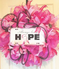 breast cancer hope cancer wreath survivor by ginagraydesigns
