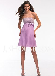 Homecoming Dresses - $86.99 - Empire Strapless Short/Mini Chiffon  Charmeuse Homecoming Dresses With Sash  Beading (022002318) http://jjshouse.com/Empire-Strapless-Short-Mini-Chiffon--Charmeuse-Homecoming-Dresses-With-Sash--Beading-022002318-g2318