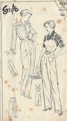 1940s Vintage Sewing Pattern B38-W32 DUNGAREES-PANTS-TROUSERS (1314) | eBay