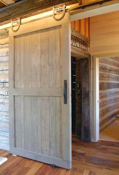 Barn door with great hardware. Also, wood paneled interior walls!