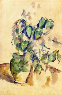 Leaves in a green pot - by Paul Cezanne  #cezanne #paintings #art