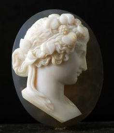 A gorgeous 19th century oval agate high relief cameo of young Bacchus - French  c.1860