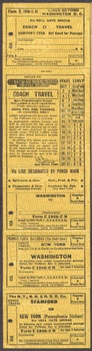 New York, New Haven, & Hartford RR. interline ticket (via Pennsylvania RR. and connection out of Washington, D. C.)
