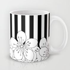 Cherry Blossom Stripes - In Memory of Mackenzie Coffee Mug by projectm Cherry Blossom Stripes - In Memory of Mackenzie Mug Ceramic Mugs, Ceramic Pottery, Ceramic Art, Pottery Painting, Ceramic Painting, Coffee Painting, Pottery Designs, Mug Designs, Pots D'argile
