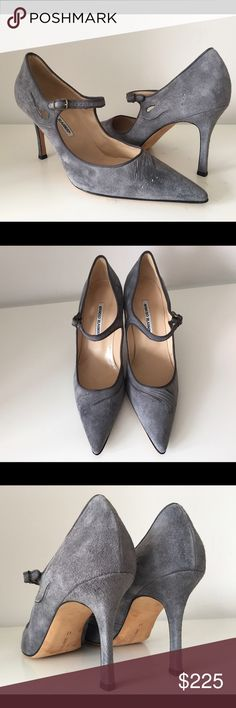 """S O L D~~~MANOLO BLAHNIK GRAY SUEDE ANKLE STRAP MANOLO BLAHNIK GRAY SUEDE ANKLE STRAP PUMPS, SZ 41, COVERED HEIGHT HEEL 4"""", MADE IN ITALY, BRAND NEW WITHOUT BOX Manolo Blahnik Shoes Heels"""