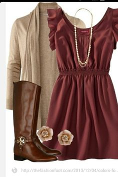 I like these colors together with a pair of leggings, and maybe some boot cuffs. The necklace is OK. I'd have to see what it looks like on.